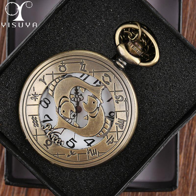 d9f232620aa2 Compre Reloj De Bolsillo Piscis Caja De Metal Relojes De Movimiento De  Cuarzo Analógico Collar Reloj De Cadena Regalo Unisex The Zodiac  Constellation A ...