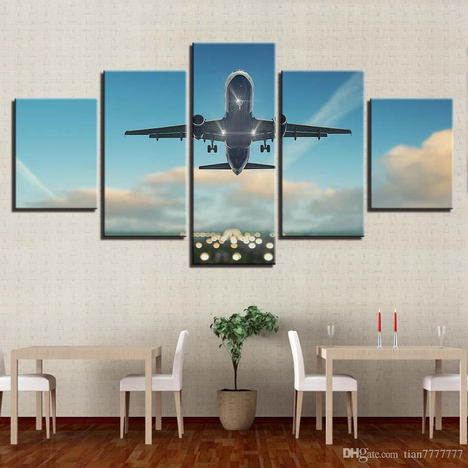 Wall Art Picture 5 Pieces Airplane Fly In The Sky Canvas Painting Home Decor HD Print Room Poster Painting No Frame