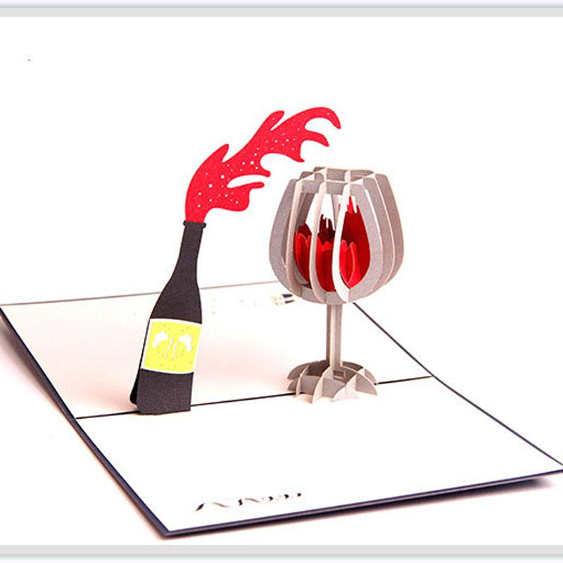 New 3D Pop Up Red Wine Greeting Cards Valentines Christmas Birthday Invitation Gift Card Singing Sister From Hotty521
