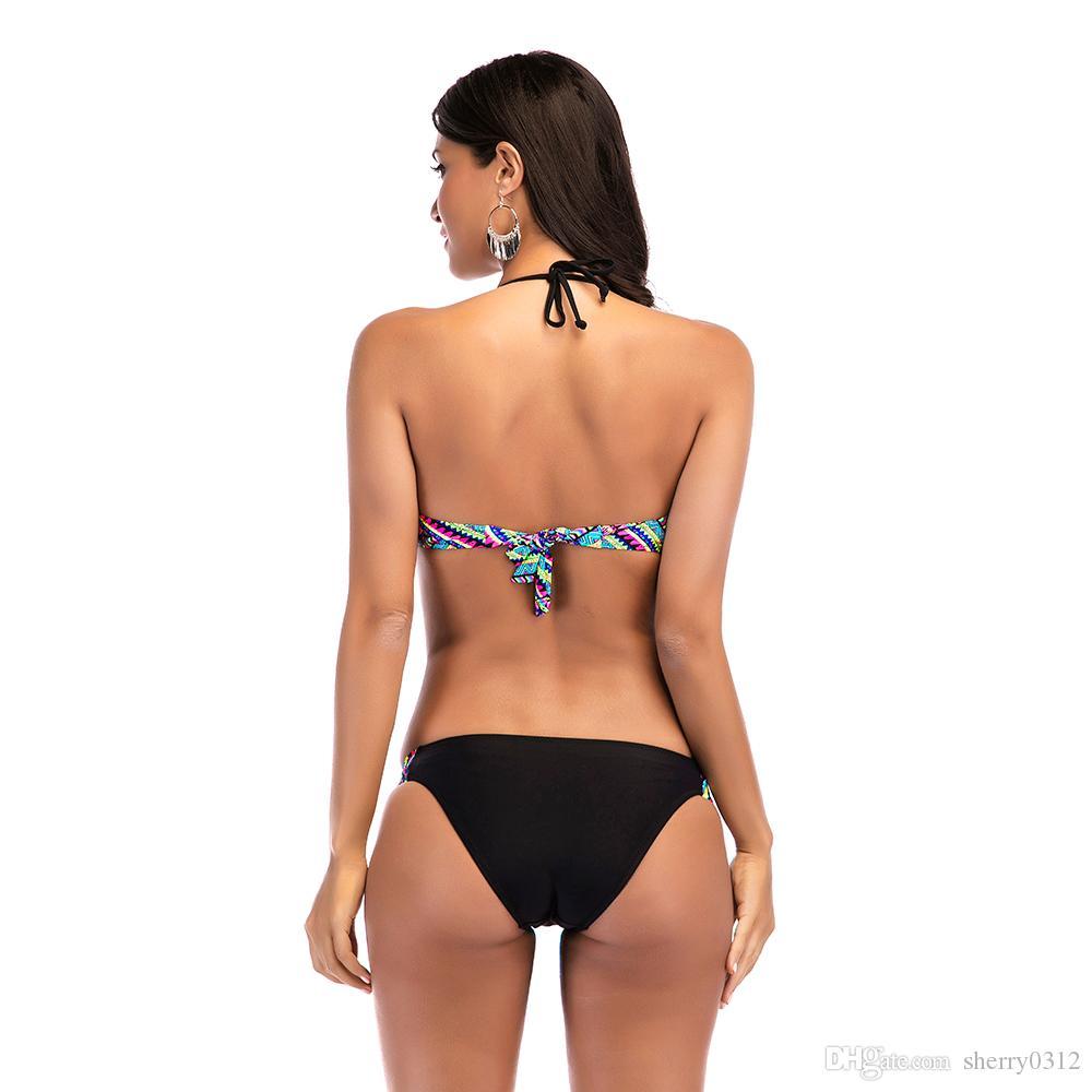 2018 New High Waist Bikini Set Halter Neck Push Up Sexy Swimsuit Women Two Pieces Bandeau Bikini Bathing Swimwear Factory Wholesale S-2XL