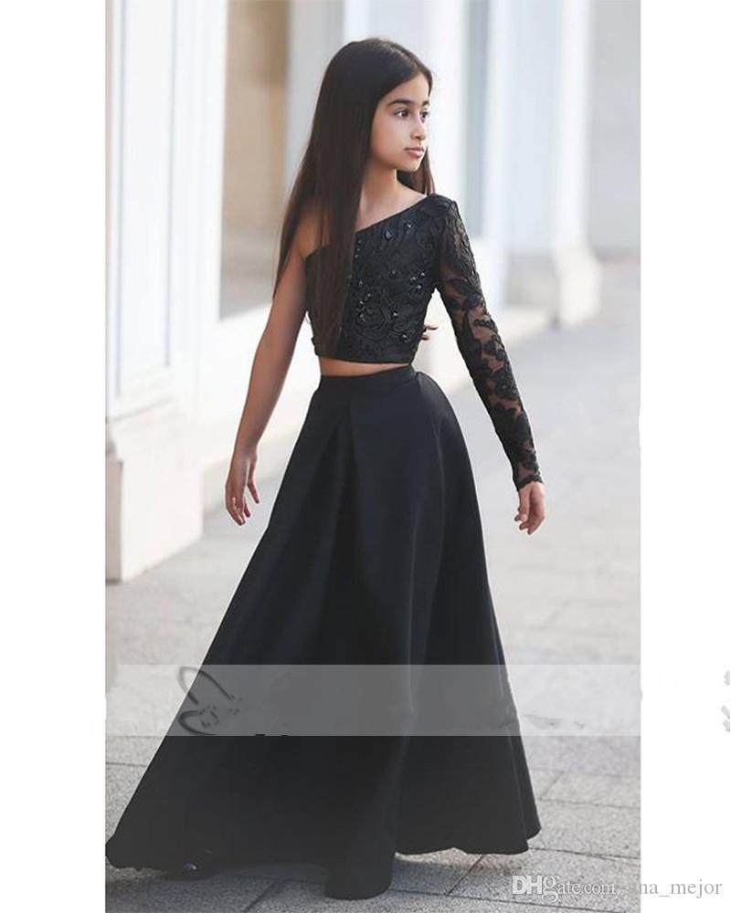 Black Ball Gown Satin Crystal One Shoulder Long Sleeve Floor Length Two Pieces Ruffle Flower Girl Dresses Show Dress