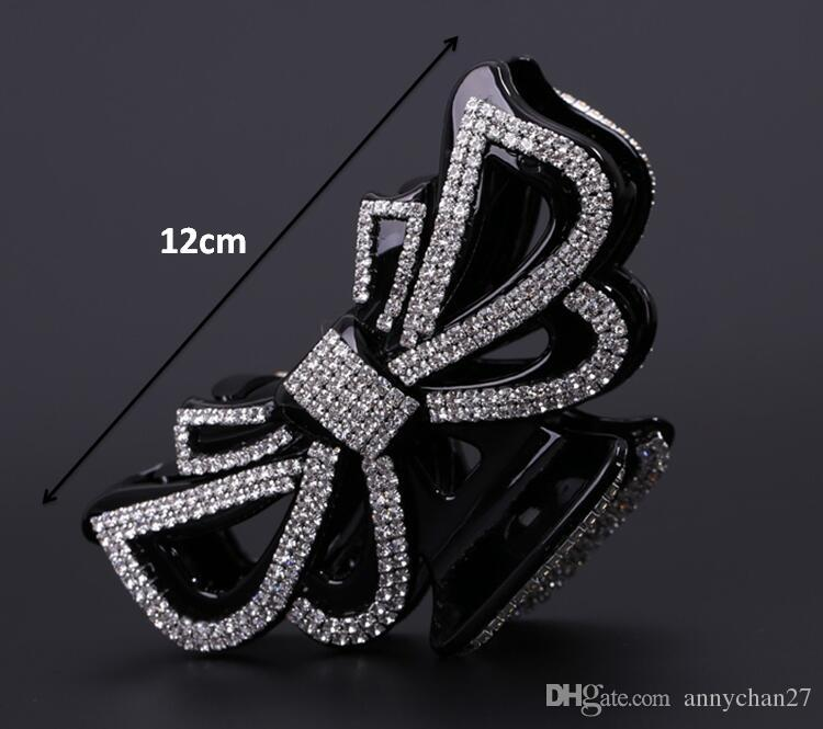 Extra Large Clamps Luxury Thick Hair Clip 12cm Black Hair Jewerly full Rhinestone Bowknot crystal swarovski clips for Girl Women free DHL