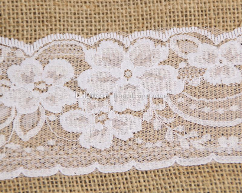 240CM*15CM Vintage Jute Burlaps With Lace Roll for Wedding Decoration in Table Runner Party Chair Sashes Home Decoratio