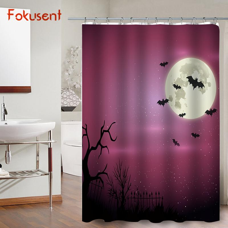 2019 FOKUSENT Halloween Shower Curtain Horror Night Of The Woods Cemetery Witch Bats Moon Polyester Fabric Curtains From Caley 2213