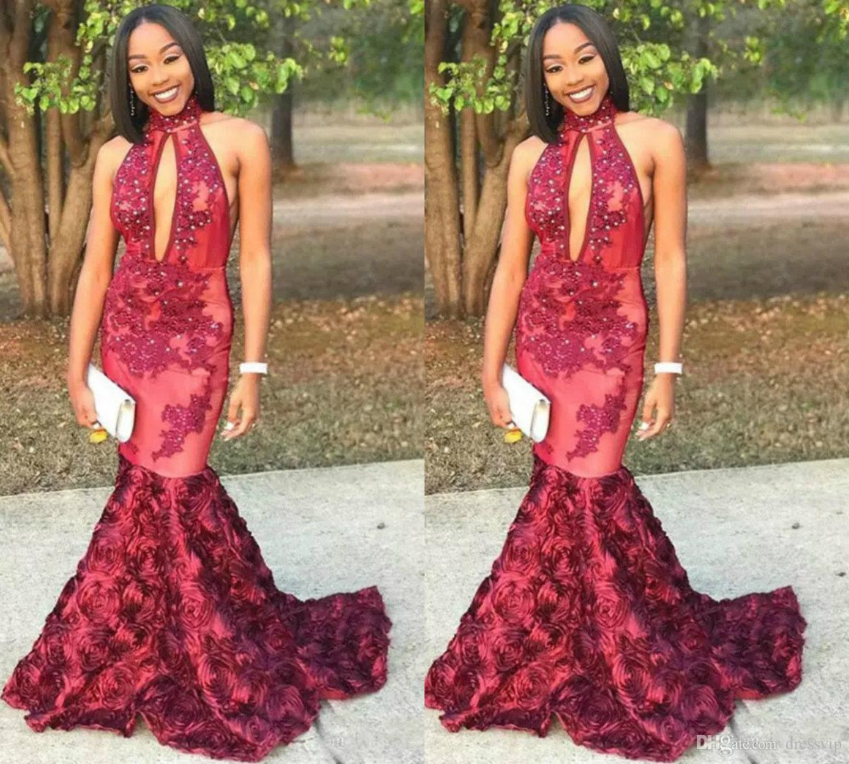 2018 Black Girls Mermaid Prom Dresses African High Neck Backless