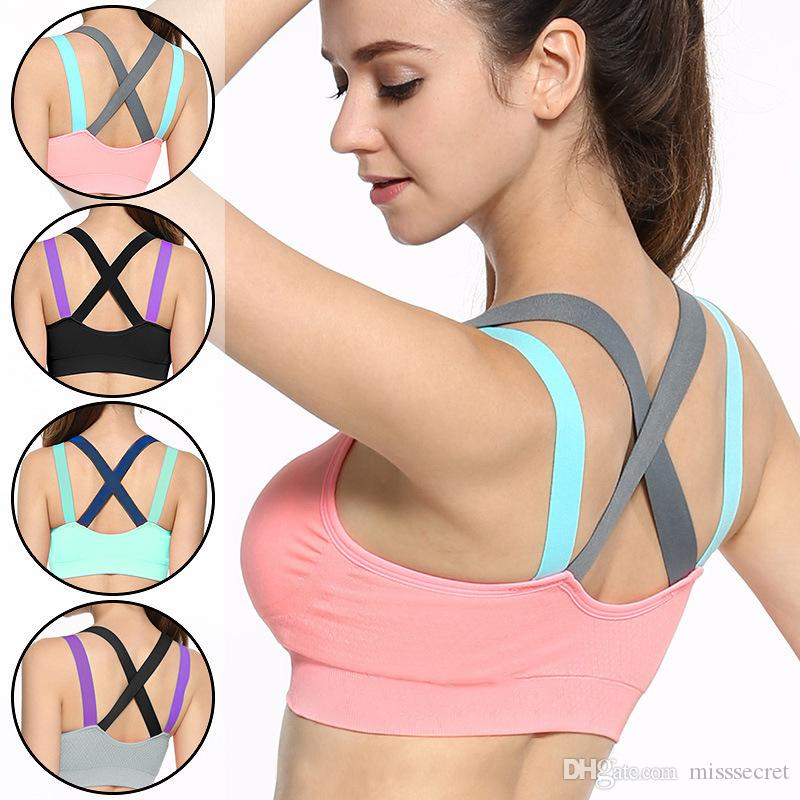 9aacd7c998103 2019 Hot Yoga Push Up Sports Bra Womens Gym Running Padded Tank Top ...