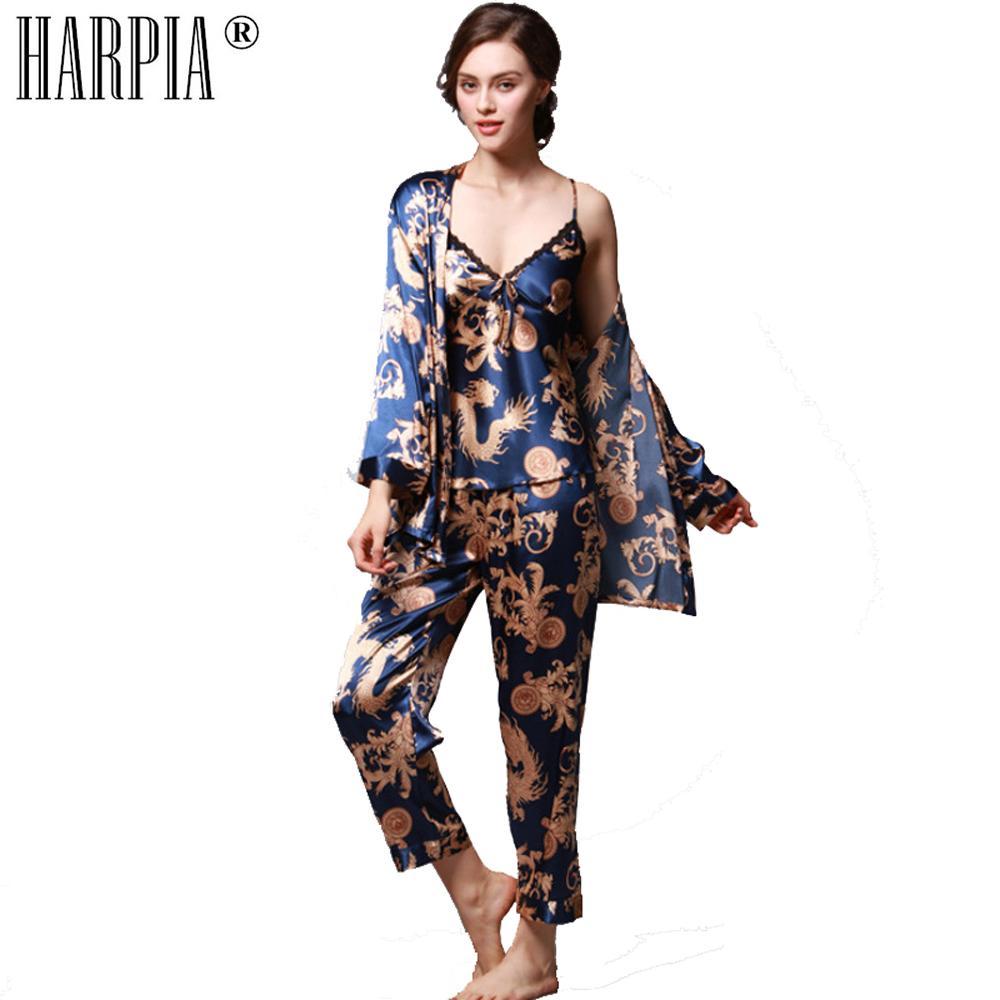 e5a814348e0 3 Pieces Sets Pyjamas Women Pajama Silk Sexy Lady Nightwear Female Pajamas  Sexy Nightgown Lingerie Plus Size xxxl Pyjama Femme