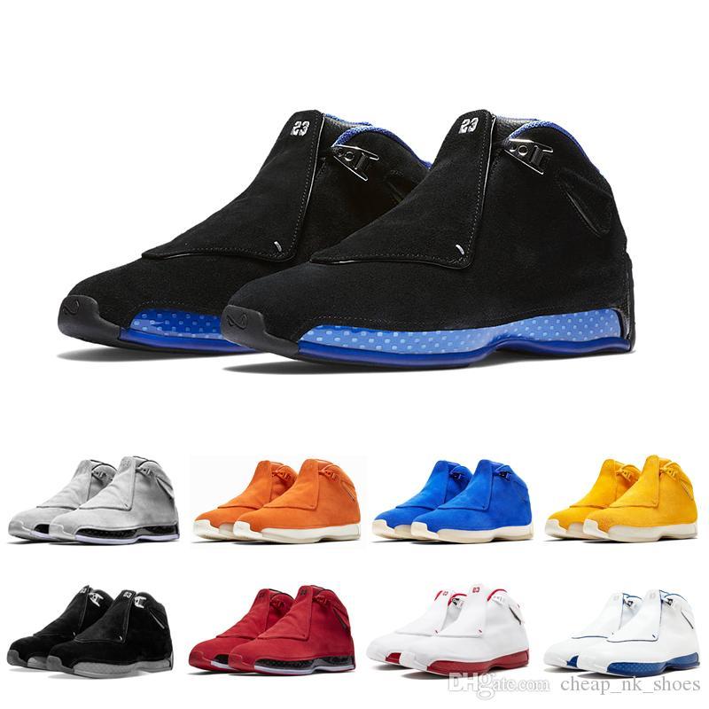 the best attitude 8e341 56b8a Acheter Air Jordan Retro Soldes Pas Cher 18 Noir Sport Royal Hommes  Chaussures De Basket Ball Toro Bleu Jaune Orange En Daim Cool Gris  Universitaire Rouge ...