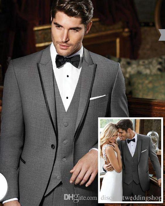 Üst Tasarım Damat Smokin Gri Tepe Yaka Groomsmen Best Man Suit Düğün Erkek Takım Elbise Ceket + Pantolon + Yelek + Kravat J396