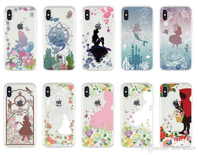 02f10388b0b For Apple IPhone Xs Max Xr 8 Plus 7 Back Cover Transparent Soft TPU Clear  Patterns Cartoon Alice Mermaid Cell Phone Cases Mobile Phone Case Phone  Covers ...