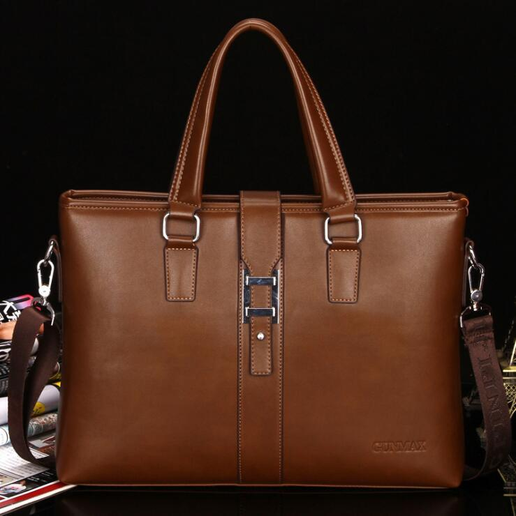 Wholesale Brand Men Bag Simple Leather Business Handbag Joker Large ... 0f314b24ad