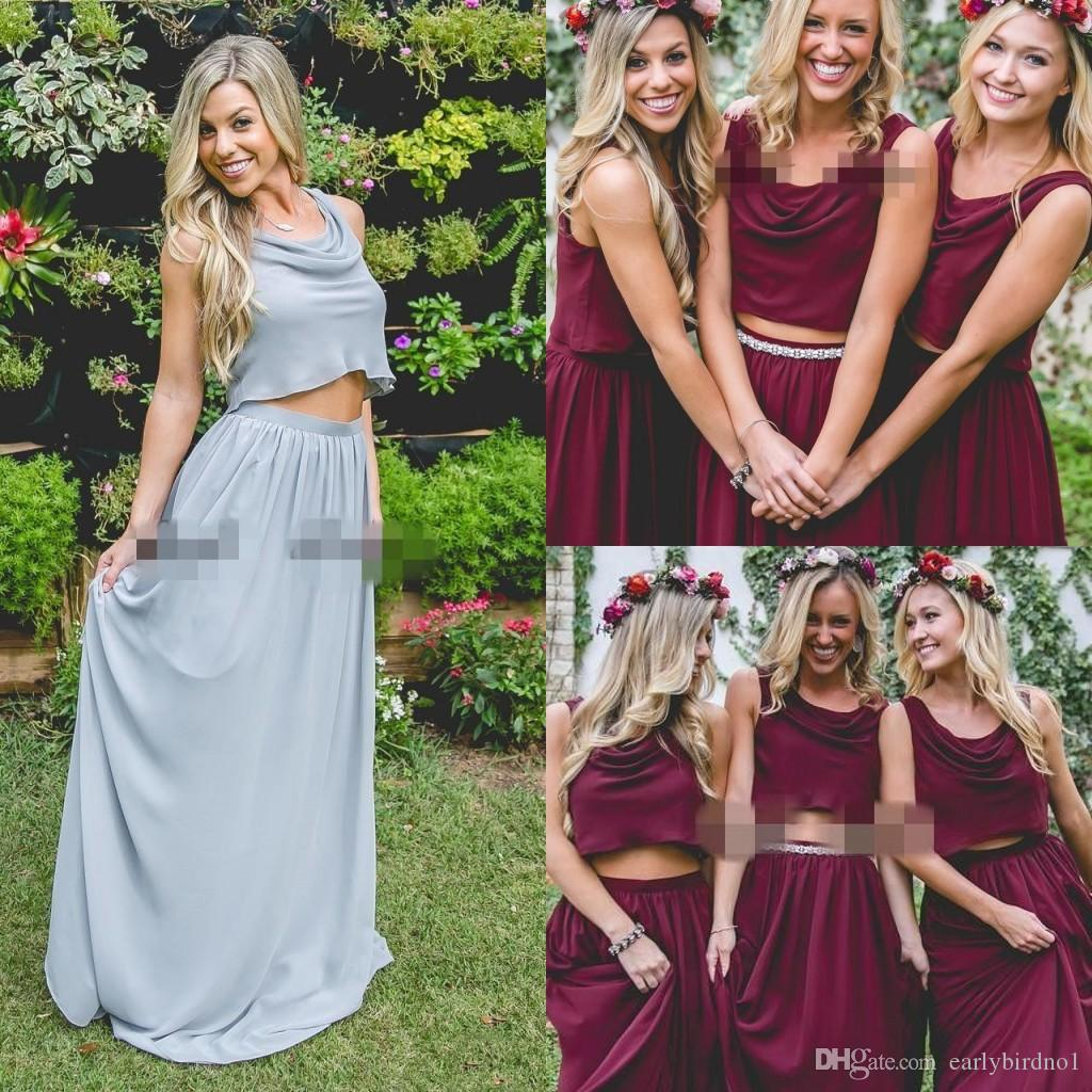 5bbc088324f6 2018 Burgundy Wine Red Two Pieces Country Long Bridesmaid Dresses 2018  Custom Plus Size Crop Top Junior Maid Of Honor Wedding Guest Dresses Orange  ...