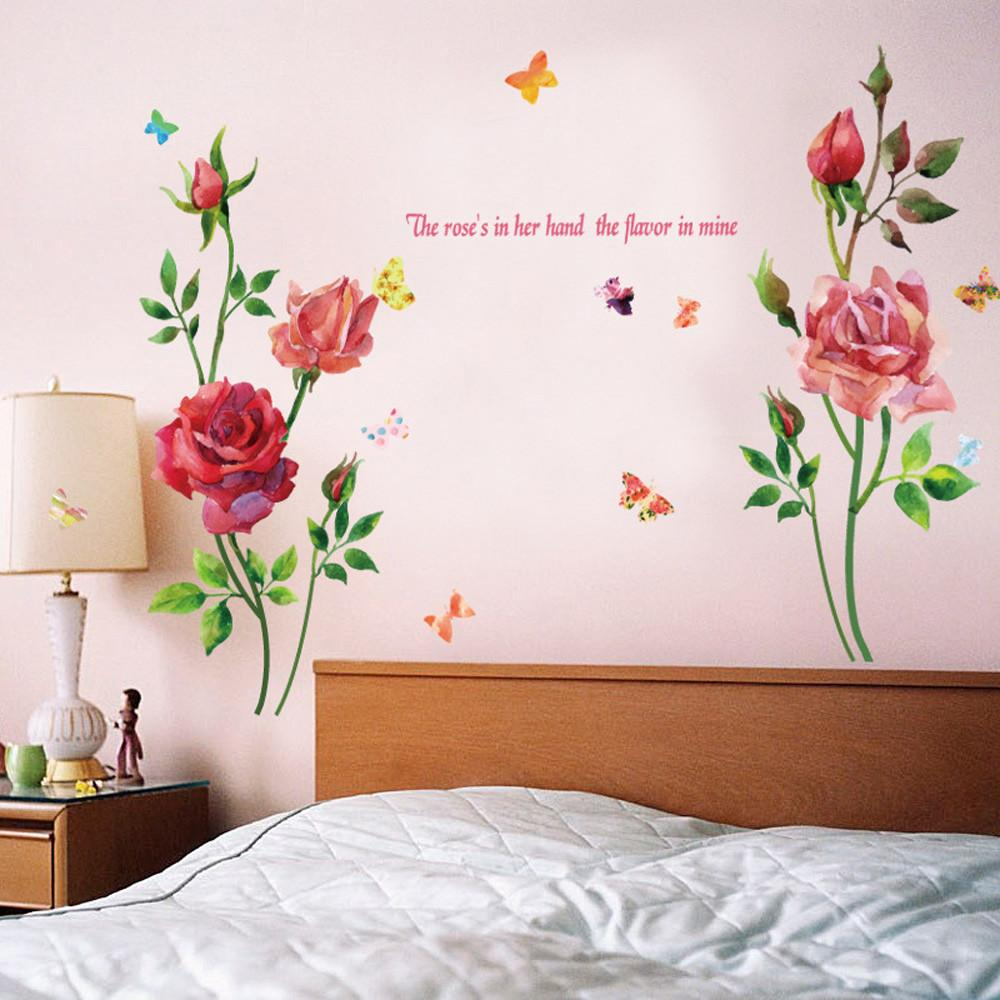 Large Rose Flower Wall Stickers The Roses In Her Hand The Flavor In