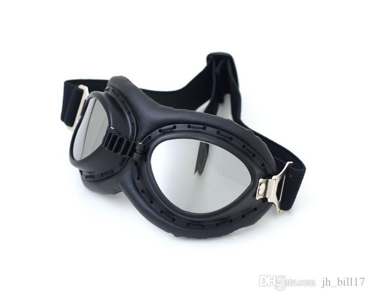 Motorcycle Clear Lens Sports Cycling Goggles Vintage Motocross Helmet Eyewear Goggles Retro Protective Riding Glasses Black Leather Frame