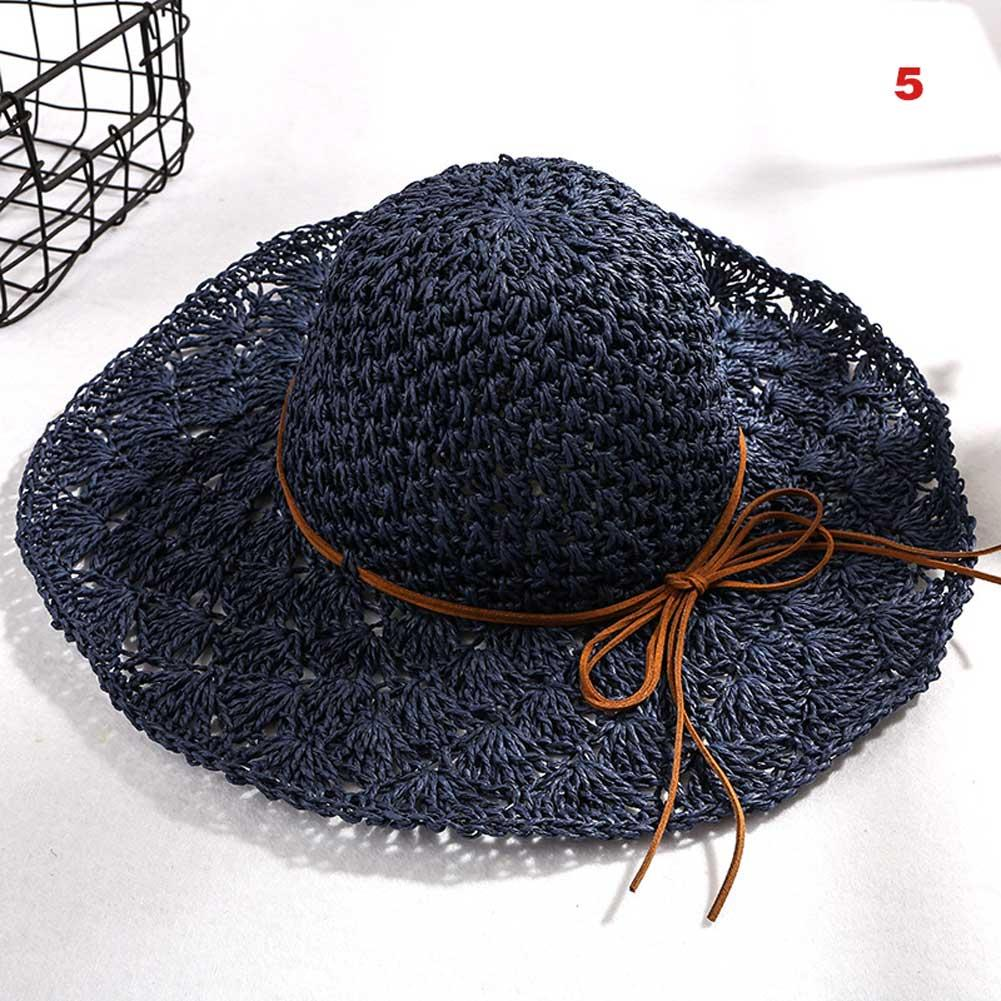df6fd30b2e5 Women Summer Straw Hat Wide Brim Knitted Hollow Casual Bowknot Beach Holiday  Sunshade Hats JL Sun Hats Cheap Sun Hats Women Summer Straw Hat Wide Brim  ...