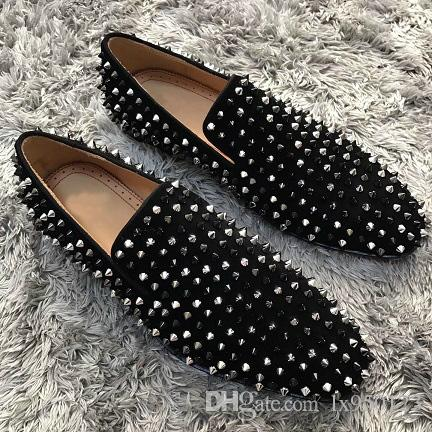329b4ec67efe Cheap Luxury Men Business Sneakers Slip On Loafers Shoes Red Bottom Outdoor  Party Wedding Flats Luxury Spikes   Strass   Suede