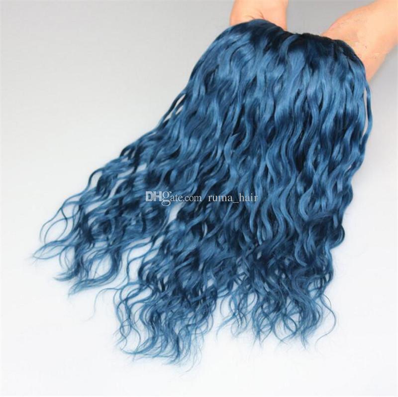 Blue Brazilian Human Hair Weave Bundles Deep Wave Blue Virgin Human Hair 3Bundles Deals Deep Curly Fast Shipping by DHL