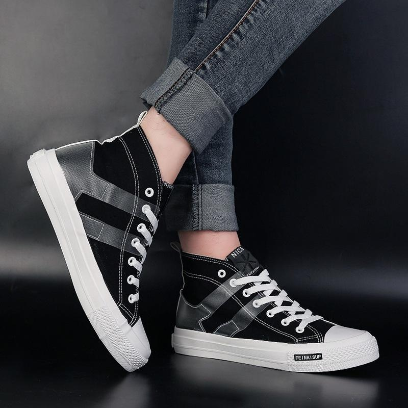 Großhandel 2019 Frühling Herbst High Top Sneakers Herren Schuhe 2019  Streifen Freizeitschuhe Herren Canvas Schuhe Light Skaters Schwarz Rot Weiß  Schuhe ... 2272746a09