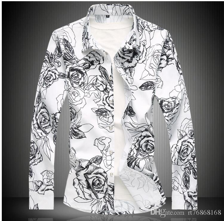 ffe85df5a9e 2019 Men Long Sleeved Shirts Slim Fit Male Tops Color Is Black White Wine  Red Navy Blue Mens Flower Shirt From Rt76868168
