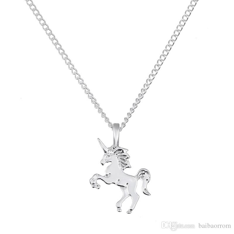 Fashion NO Dogeared LOGO New Gold-color Life Is Magical UNICORN Horse Alloy Clavicle Chain Pendant Chocker Necklace Jewelry Gift Whosales