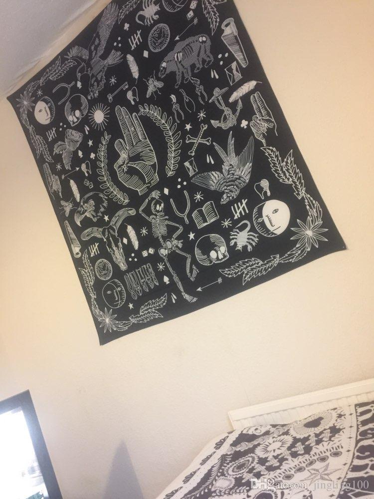 2019 il nuovo disegno caldo di vendita Mandala Wall Hanging Moda Bianco Arazzo nero Boho Arazzo copriletto tiro Etnica Arte floreale bedromm Decor