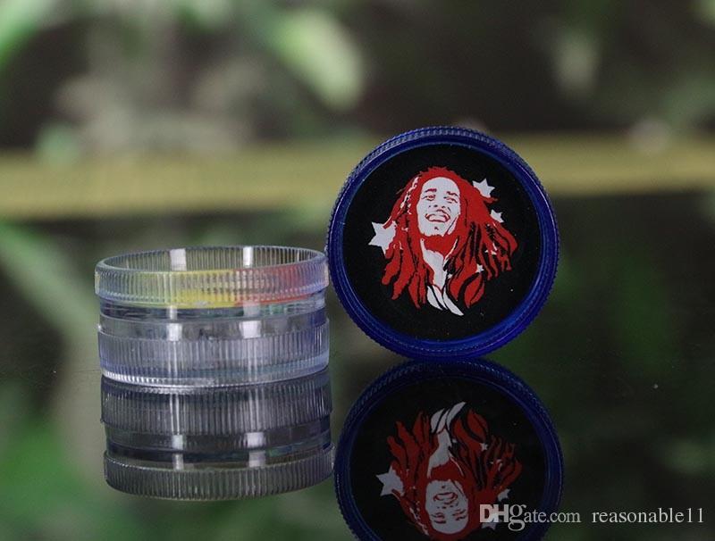 Meuleuse acrylique avec Aimant sec Herbe BOB MARLEY Plastique dur pour Herbal Tabac Herbes Fumeur Poignée Smoke Crusher Grinder