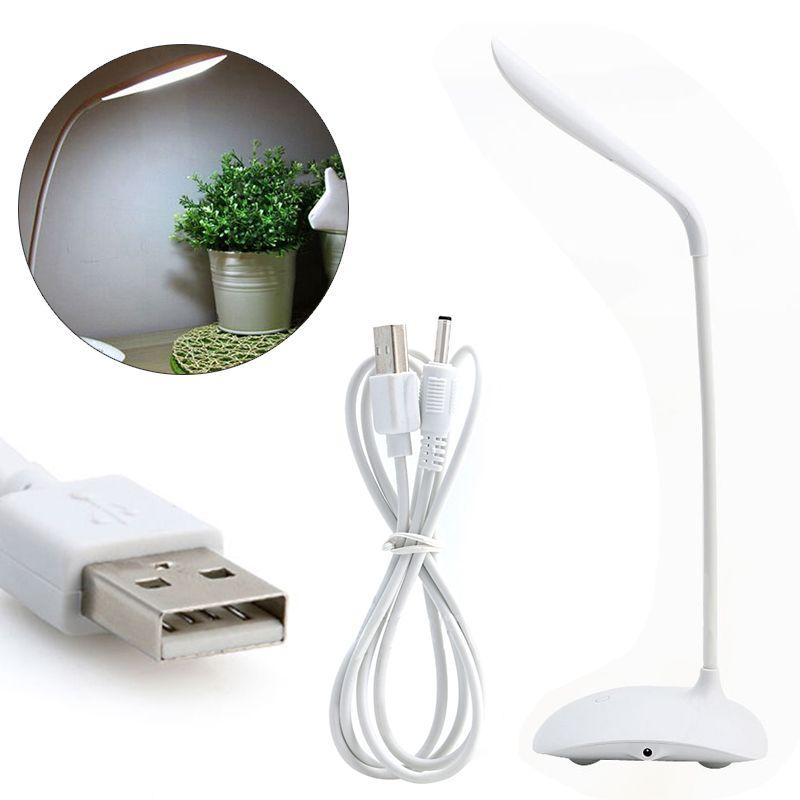 White Cordless USB Rechargeable Touch Sensor LED Desk Table Reading Lamp