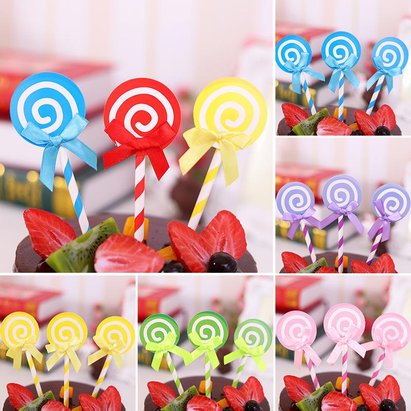 2019 Wholesale Price Creative Candy Party Supliers Bag Lollipop Birthday Cake Topper Insert Decorations From Zhmstore 502