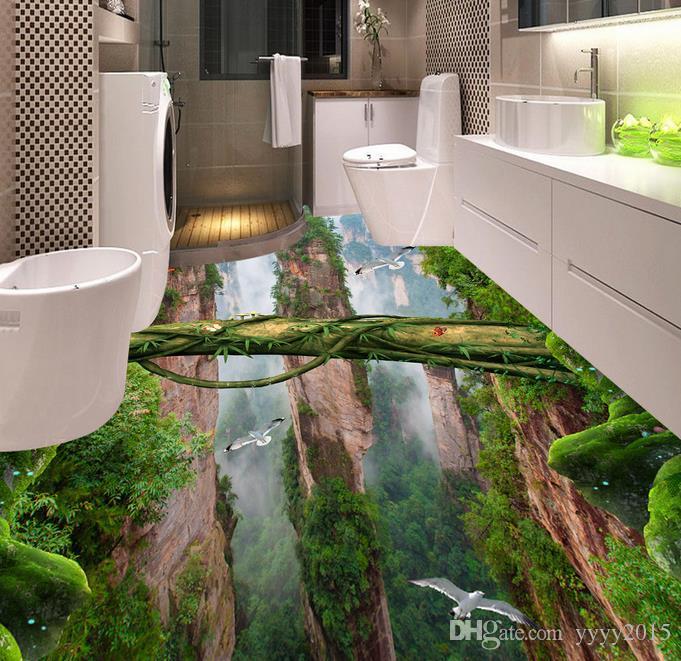 3d Floor Murals Forest Valley Mountain peak stereo bathroom kitchen 3D floor stickerswaterproof PVC Wallpaper