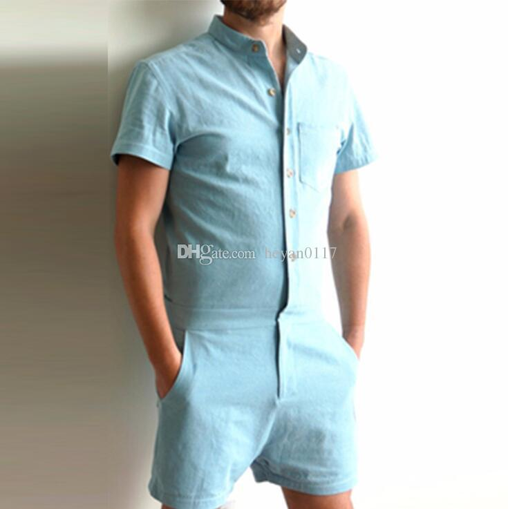 46e9772db686 2019 Fashion Mens Stretch Jumpsuit Male Short Sleeve Rompers Short Cargo  Pants Summer Single Breasted Tops Zipper Trousers In Stock From Heyan0117