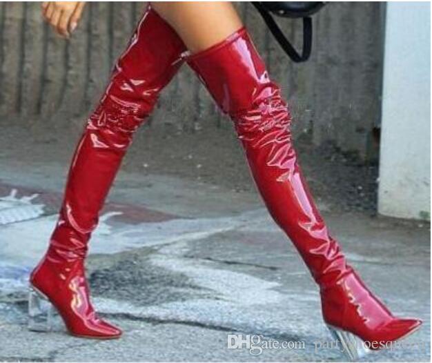 Autumn Winter Transparent High Heel booties Back Zip Women Boots Red Black Bule Over The Knee Crystal Heel Thigh High Boots Shoes Women