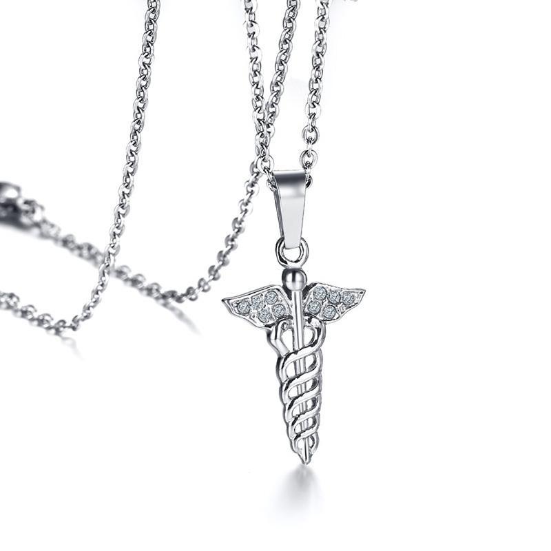 Wholesale Women Caduceus Symbol Pendant Necklace Stainless Steel
