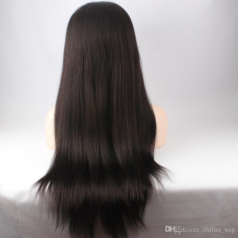 Z&F Natural Color Human Hair Hand Made Front Lace Wigs Black 24 Inch Long Straight Lace Wig