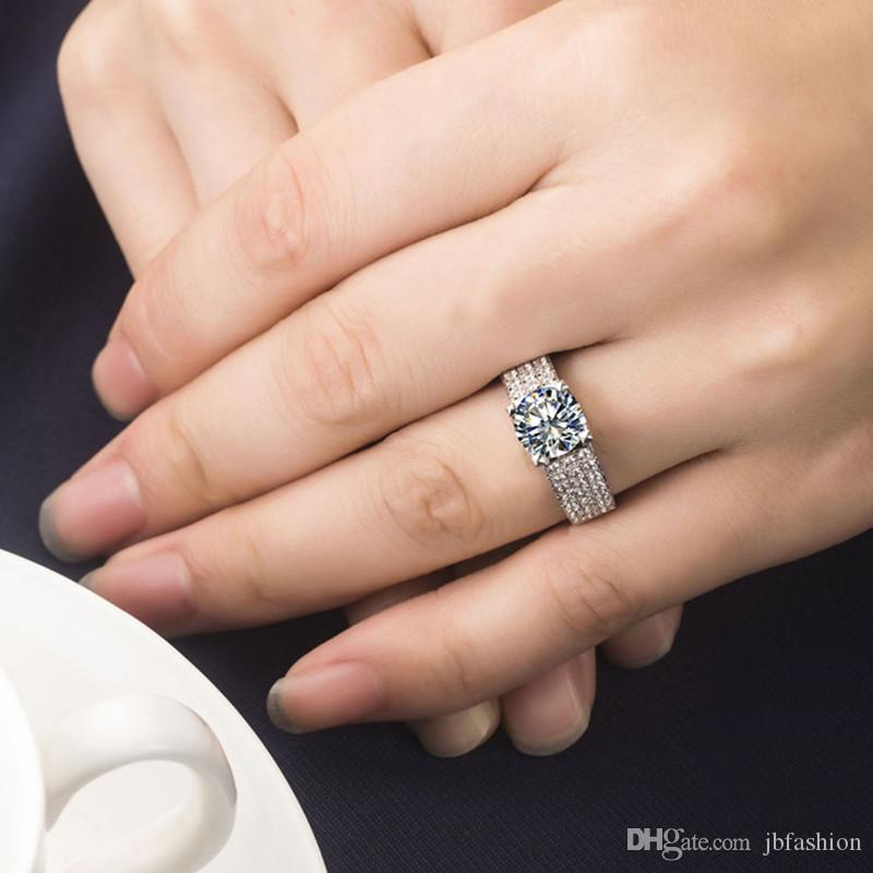 Halo 1 Carat Round Cut Synthetic Diamond Engagement Wedding Ring Sterling Silver Bridal Jewelry Rings for Women Platinum Plated Ring Gift