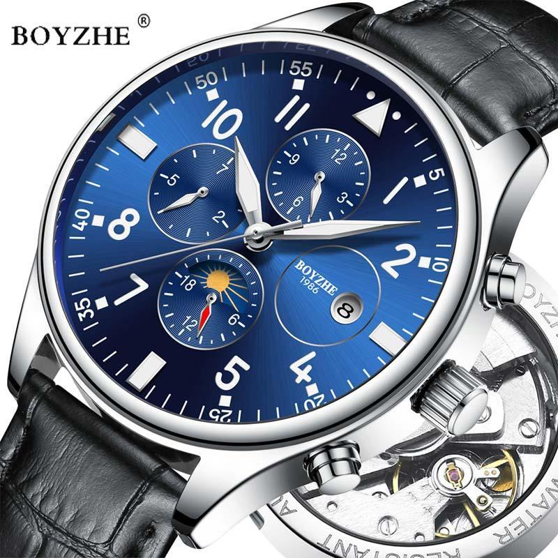 e10d47979045 Compre BOYZHE Marca De Lujo Para Hombre Reloj Mecánico Automático Moda  Casual Cuero Fase Lunar Luminoso Relojes Deportivos Relogio Masculino A   58.88 Del ...