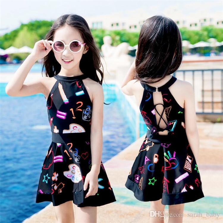 New Fashion Baby Girl Cute princess dress Girls cartoon Graffiti One-piece Swimwear Swimsuit Beachwear