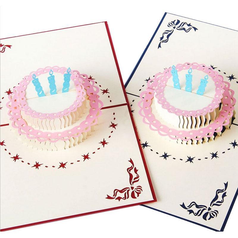 3d Pop Up Greeting Card Handmade Happy Birthday Cake Valentines Day