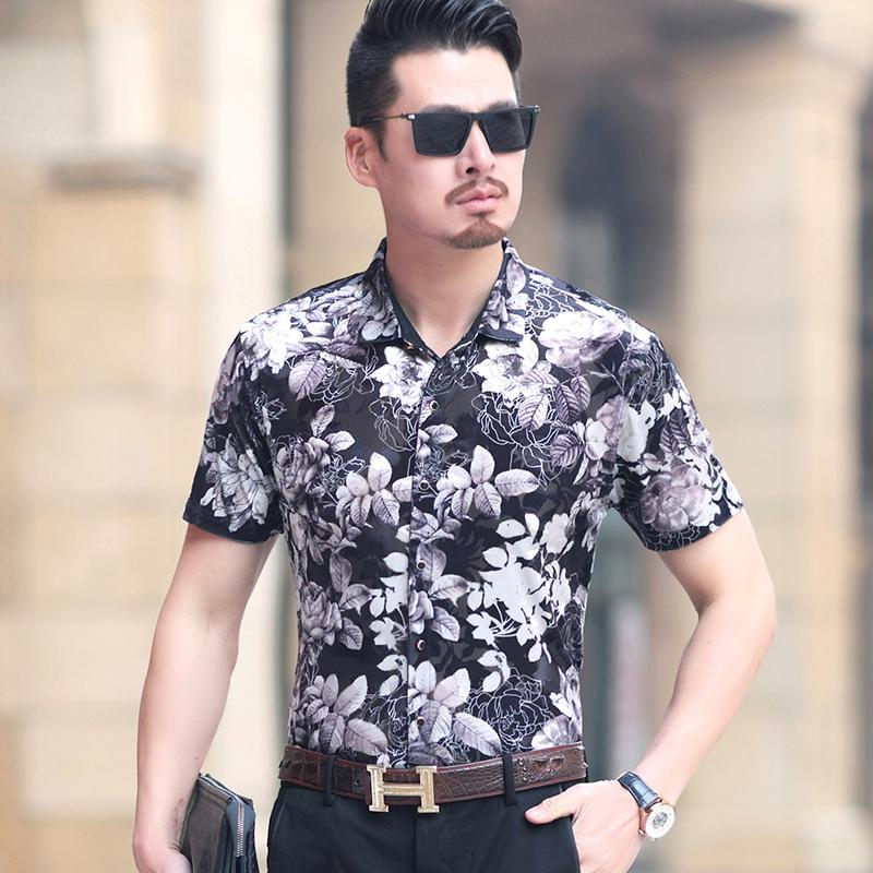 1242402e6e46 Kuyomens mens floral shirt short sleeve fashion summer jpg 800x800 Floral  shirt summer mens style pictures