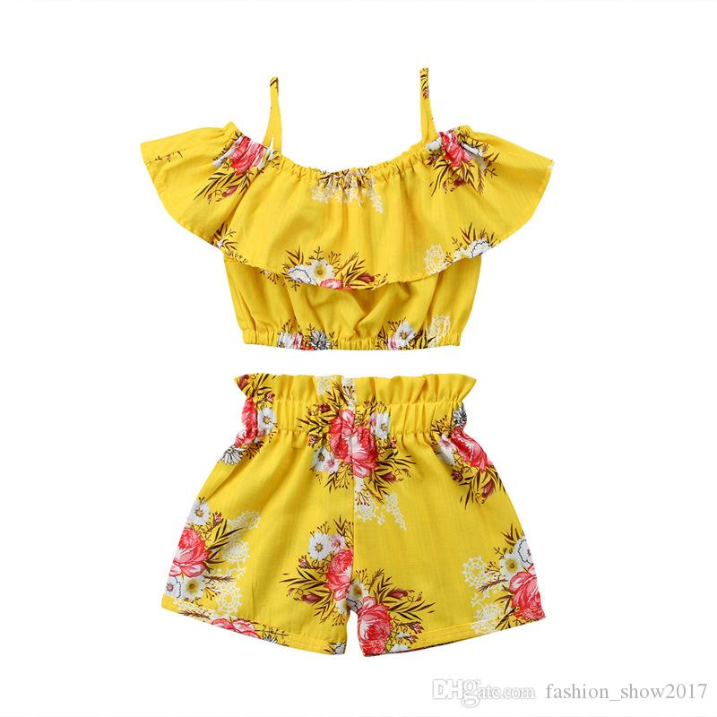 Toddler Baby Girl Clothes Yellow Floral Ruffled Strap Tops Chaleco Shorts Bottoms Trajes de verano Ropa de playa Set