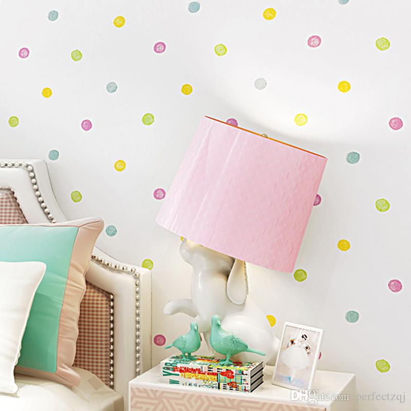 New Modern Fashion White Colorful Lovely Dot Wallpaper Home Decor ...