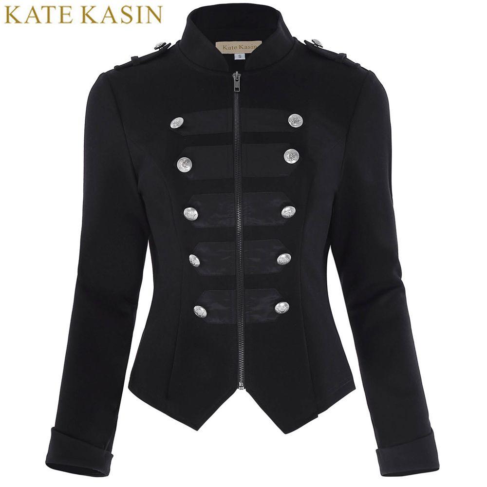 17d9a9094863 Großhandel Kate Kasin Military Jacke Frauen Schwarz Langarm Knopf ...