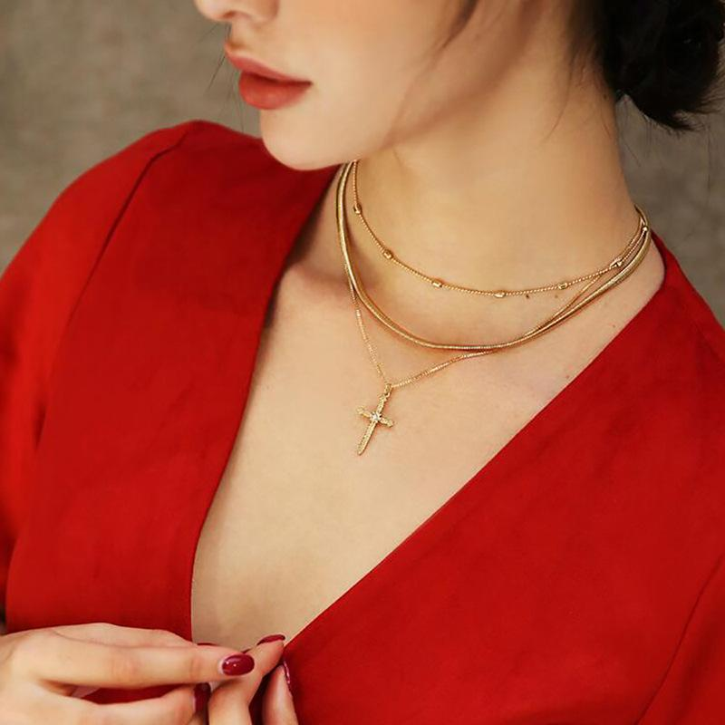 Three-layer cross pendant Vintage mix ins model with necklace choker girl jewelry wholesale