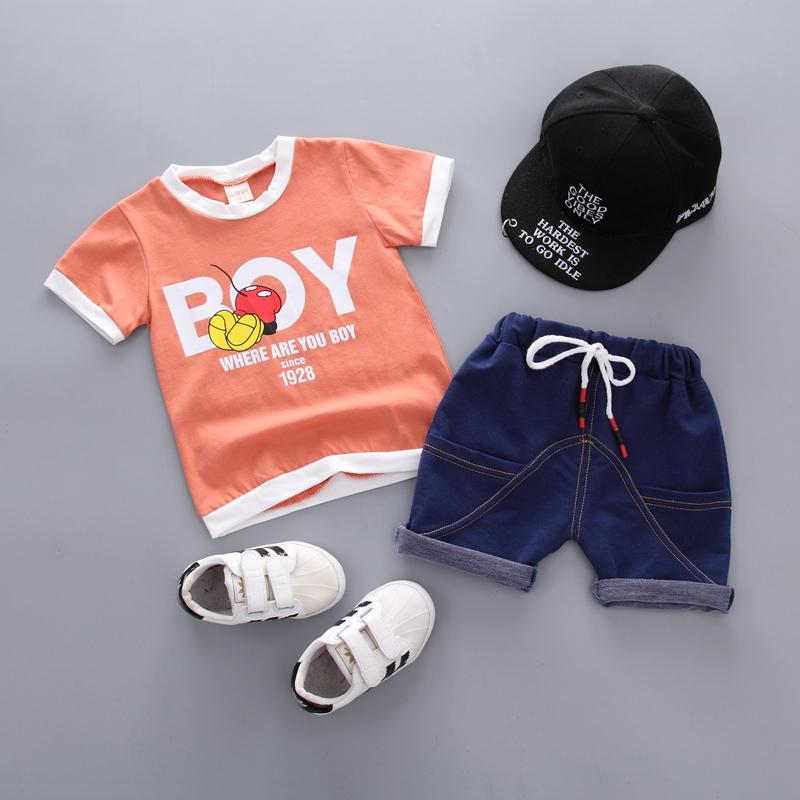 0-4 Years Toddler Boys Clothing Sets Cotton 2pcs Lovely Cartoon Tshirt+Shorts Kids Suits 2018 New Summer Children Clothes Z213 Y1893004