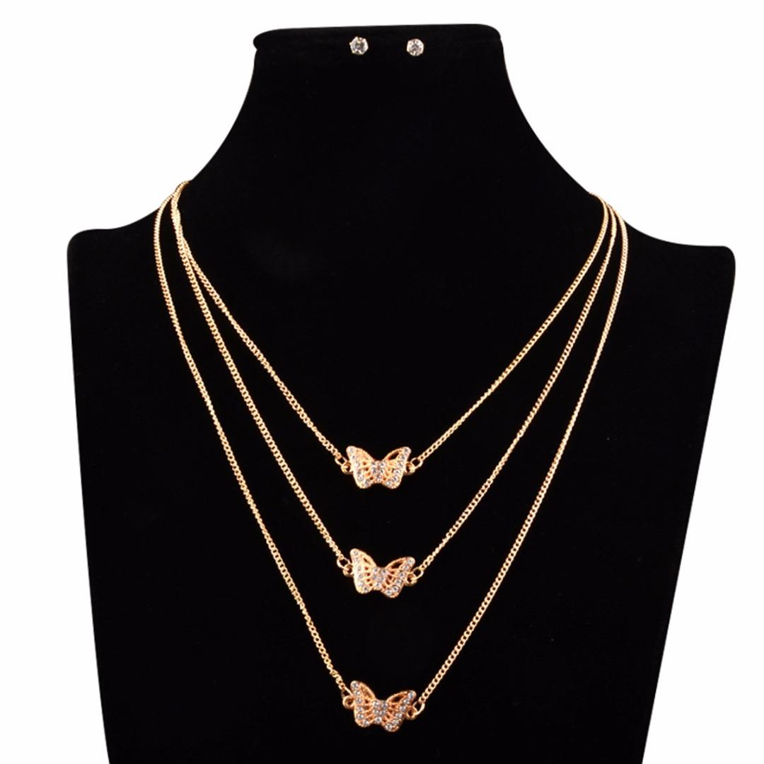 67ecf3acd0113 3 Layer Chokers Necklace Ear Stud Earrings Chic Butterfly Crystal Collier  Femme Bijoux Shellhard Fashion Jewelry Set