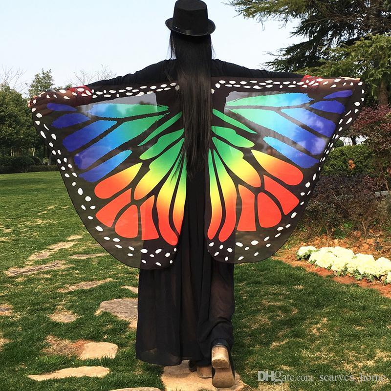 Женщины бабочка крыло большой Фея Мыс шарф бикини прикрыть шифон градиент пляж прикрыть Шаль Wrap Павлин косплей 18 цветов