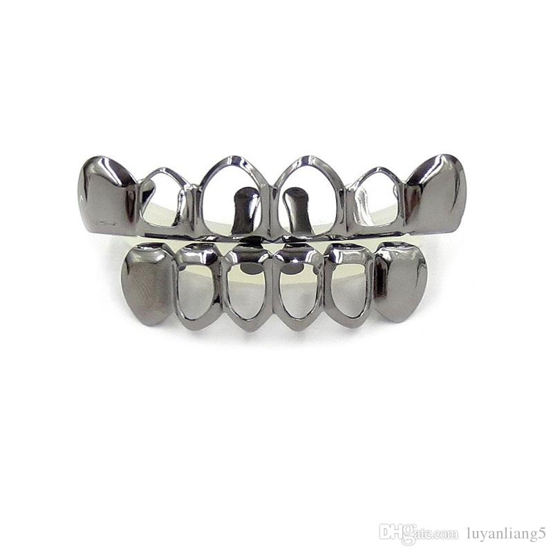 Metal Tooth Grillz Gold Hollow Dental Grillz Top Bottom Hiphop Teeth Caps Body Jewelry for Women Men Fashion Vampire Cosplay Accessories