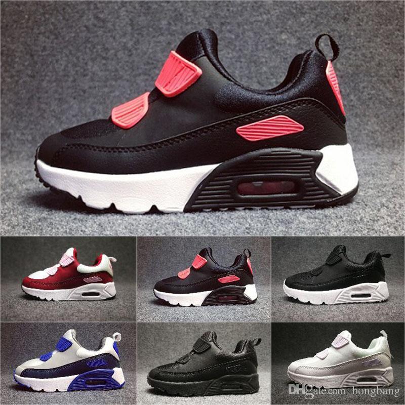 sports shoes d5ecd 204a2 Acheter Nike Air Max 90 2018 Chaussures Baskets Enfants Classique 90 Chaussures  De Course Noir Rouge Blanc Sport Entraîneur Air Coussin Surface Respirant  ...