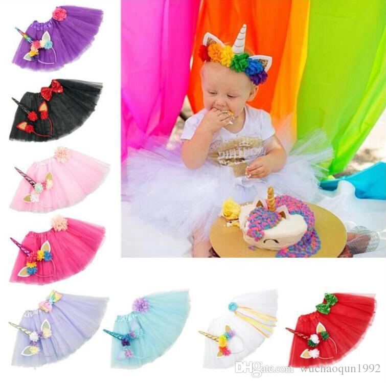 9 Color Girls INS Unicorn TUTU skirt +hair accessory sets 2018 New summer lace Bow flower decoration short skirt kids dress 1~6years