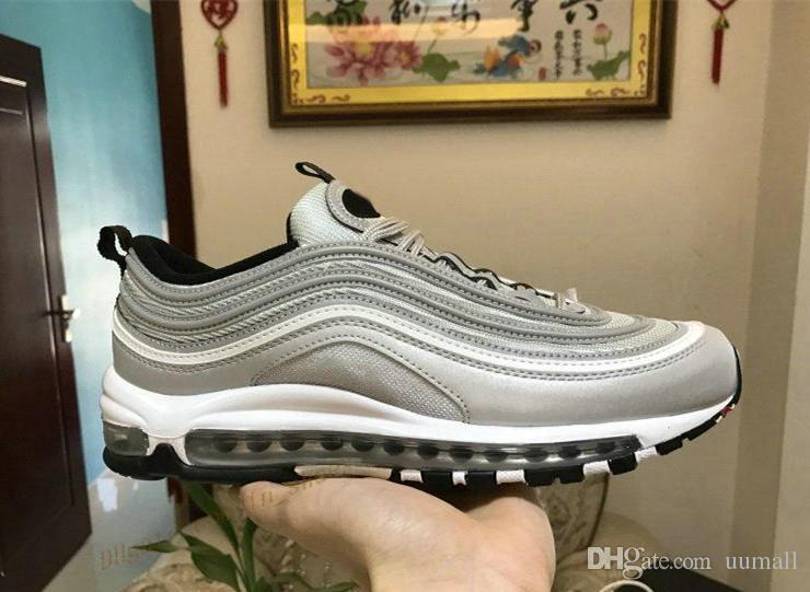 e6b4a5440ba 2018 Air Undefeated 97 Running Shoes Silver Bullet Gold White 97s ...