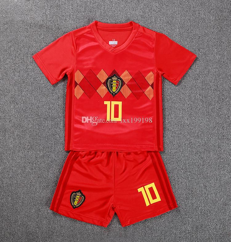 2019 Kids Hot Sale Real Kit 2018 World Cup Belgium Soccer Jersey Home Red 7  De Bruyne 9 Lukaku 10 Hazard Children National Team Football Uniforms From  ... 24bb460f0